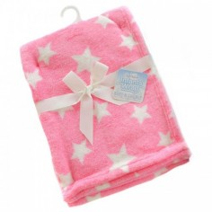 Paturica bebe roz cu stelute Soft Touch Soft Touch
