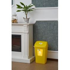 Cos gunoi reciclare cu capac 25L, Galben HEINNER