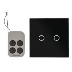 Intrerupator dublu cu actionare la atingere (touch), cu 2 butoane si telecomanda RF, negru AJ-TSB-02-bk Yli