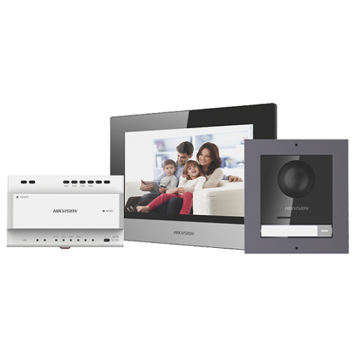 Kit videointerfon IP compus din monitor 7 conectare 2 fire HIKVISION DS-KIS702