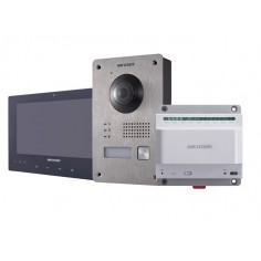 Kit videointerfonie Hikvision compus din 1 x post exterior cu camera si un buton de apelare DS-KV8103-IME2, 1 x monitor color LCD 7