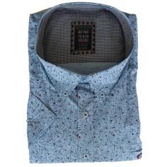 Camasa albastra cu imprimeu punctat rosu bleumarin , Marime 6XL Bettino