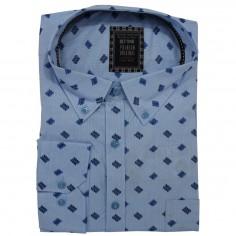 Camasa maneca lunga, bleu cu imprimeu , Marime 6XL Bettino