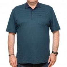 Tricou verde inchis in dungi cu guler, Marime 4XL Nespecificat