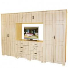 Dulap Dynasty Dormitor Sonoma 7 usi si 8 sertare cu spatiu pentru televizor Spectral