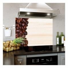 Panou pentru bucatarie, protectie aragaz, antistropire, print UV model Textura Boabe de Cafea 5 60x50 cm Decoglass