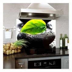 Panou bucatarie, protectie plita, aragaz, antistropire, print UV model Fundal Piatra Neagra 125x50 cm Decoglass