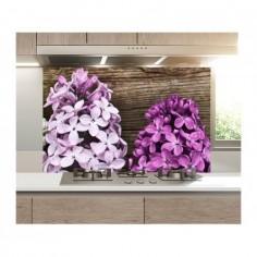 Panou bucatarie, protectie plita, aragaz, antistropire, print UV model 3 Flori de Liliac 60x60 cm Decoglass