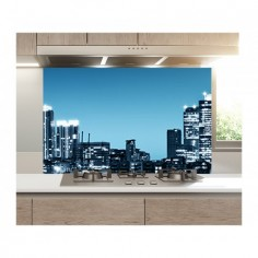 Panou decorativ, protectie plita, print UV model Orziont Albastru 100x50 cm Decoglass