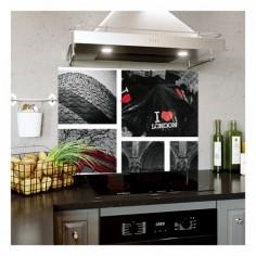 Panou bucatarie, protectie plita, aragaz, antistropire, print UV model Cadre Londra 120x60 cm Decoglass