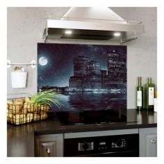 Panou bucatarie, protectie plita, aragaz, antistropire, print UV model Priveliste Oras Luna Plina 125x50 cm Decoglass