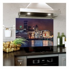 Panou bucatarie, protectie plita, aragaz, antistropire, print UV model Panorama de Seara  90x60 cm Decoglass