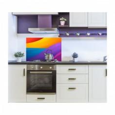 Panou antistropire pentru bucatarie sticla securizata, model MultiColor Abstract 60x60 cm Decoglass
