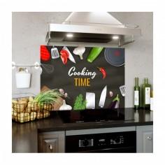 Panou antistropi bucatarie, sticla securizata, model Cooking Time 90x60 cm Decoglass