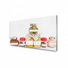 Panou antistropire pentru bucatarie, sticla securizata, model Borcane condimente 125x50 cm Decoglass