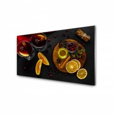 Panou antistropi bucatarie, sticla securizata, model Ceai cu fructe proaspete 120x60 cm Decoglass