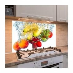 Panou antistropire pentru bucatarie, sticla securizata, model Banane, Cirese, Capsuni si Nectarine 100x50 cm Decoglass