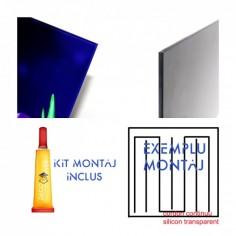 Panou antistropire pentru bucatarie, sticla securizata, model Pictura Abstract Mov 125x50 cm Decoglass