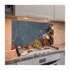 Panou antistropire pentru bucatarie, sticla securizata, model Sortimente de Condimente 100x50 cm Decoglass