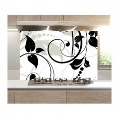 Panou bucatarie, protectie plita, aragaz, antistropire, print UV model Alb si Negru 125x50 cm Decoglass