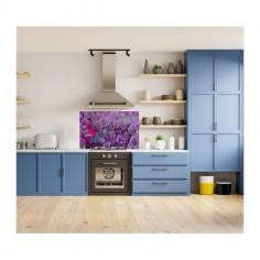 Panou antistropire pentru bucatarie, sticla securizata, model Abstract is Purple 60x60 cm Decoglass