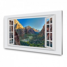Panou antistropi bucatarie, sticla securizata, model cu fereastra Peisaj de zi montan 120x60 cm Decoglass