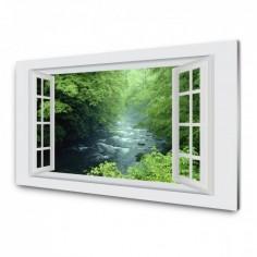 Panou antistropi bucatarie, sticla securizata, model cu fereastra Parau de munte 60x60 cm Decoglass