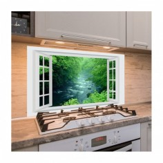 Panou antistropi bucatarie, sticla securizata, model cu fereastra Parau de munte 125x50 cm Decoglass