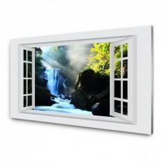 Panou antistropi bucatarie, sticla securizata, model cu fereastra Cascada albastra 60x60 cm Decoglass