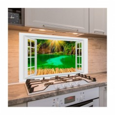 Panou antistropi bucatarie, sticla securizata, model cu fereastra Fundal Cascada 120x60 cm Decoglass