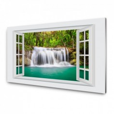 Panou antistropi bucatarie, sticla securizata, model cu fereastra Vegetatie 100x50 cm Decoglass