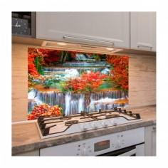 Panou antistropire pentru bucatarie, sticla securizata, model Cascada rosie 60x50 cm Decoglass