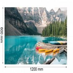 Placa decorativa bucatarie, protectie plita, aragaz, antistropire, Lac montan 90x60 cm Decoglass