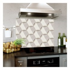 Panou bucatarie, protectie plita, aragaz, antistropire, print UV model Abstract Hexagon 60x60 cm Decoglass