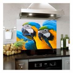 Panou bucatarie, protectie plita, aragaz, antistropire, print UV model 3 Papagali Macaw 120x60 cm Decoglass
