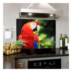 Panou bucatarie, protectie plita, aragaz, antistropire, print UV model Papagal Macaw Rosu 120x60 cm Decoglass