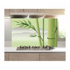 Panou bucatarie, protectie plita, aragaz, antistropire, print UV model Bambus cu Fundal Deschis 60x50 cm Decoglass