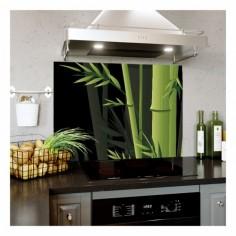 Panou bucatarie, protectie plita, aragaz, antistropire, print UV model Bambus cu Fundal Inchis 100x50 cm Decoglass