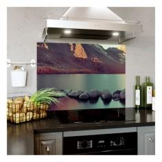 Panou bucatarie, protectie plita, aragaz, antistropire, print UV model Peisaj Montan 60x50 cm Decoglass