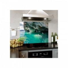 Placa decorativa pentru bucatarie, protectie plita, aragaz, antistropire, Cave 100x50 cm Decoglass