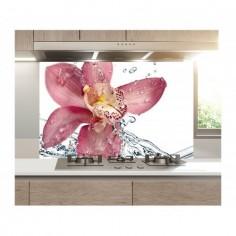 Panou bucatarie, protectie plita, aragaz, antistropire, print UV model Stropi de Apa Orhidee 60x50 cm Decoglass