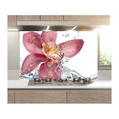Panou bucatarie, protectie plita, aragaz, antistropire, print UV model Stropi de Apa Orhidee 125x50 cm Decoglass