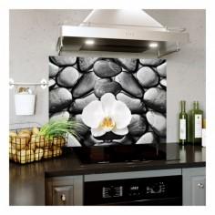 Panou bucatarie, protectie plita, aragaz, antistropire, print UV model Peisaj Orhidee Alba 90x60 cm Decoglass