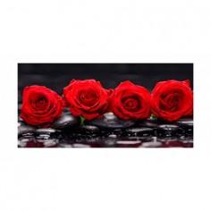 Panou bucatarie, protectie plita, aragaz, antistropire, print UV model 4 Trandafiri Rosii 60x60 cm Decoglass