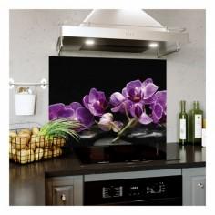 Panou bucatarie, protectie plita, aragaz, antistropire, print UV model Orhidee 36 90x60 cm Decoglass