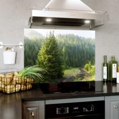 Panou bucatarie, protectie plita, aragaz, antistropire, print UV model Brazi 125x50 cm Decoglass