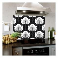 Panou bucatarie, protectie plita, aragaz, antistropire, print UV model Abstract Floare Alb si Negru 90x60 cm Decoglass