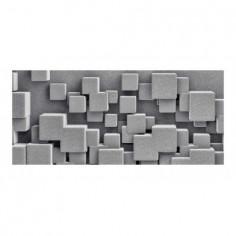 Panou bucatarie, protectie plita, aragaz, antistropire, print UV model Abstract Cuburi Gri 100x50 cm Decoglass