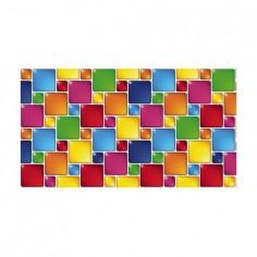 Panou bucatarie, protectie plita, aragaz, antistropire, print UV model Abstract Patratele MultiColore 90x60 cm Decoglass