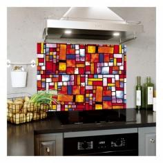 Panou bucatarie, protectie plita, aragaz, antistropire, print UV model Abstract 46 MultiColor 60x60 cm Decoglass